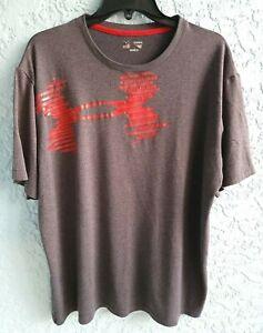 Under Armour Heat Gear T Shirt Men's Size XL Gray w/ Red Logo!