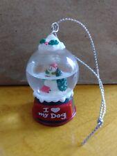 Ganz Snowman Snowglobe Mini Ornament Personalized I ❤ My Dog New Condition