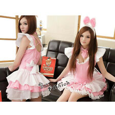 Lolita Maid Cosplay Kleid Mädchen Kostüm Rosa Dress Pajama Party Sexy + Headwear