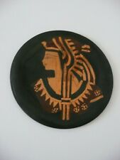 "Small Brass Middle East Plate With Egyptian Face - Nice Decorative Item 8"" Round"