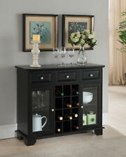 Kings Brand Furniture - Buffet Server Sideboard Cabinet with Wine Storage, Black