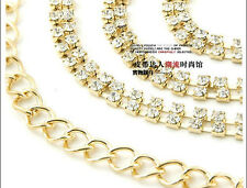 Fashion One Size Handmade 1Pc 2Rows Golden Rhinestone Waist Chain Belt Whites N9