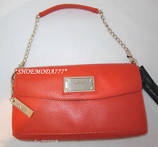 $195 DKNY Soft Leather With Logo Plaque Bag Purse Clutch Wristlet Sac Orange New