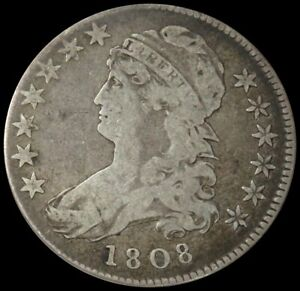1808 SILVER CAPPED BUST HALF DOLLAR FINE CONDITION