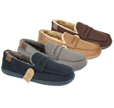 Jo & Joe Mens New Hampshire Faux Suede Fur Lined Moccasin Slippers (Boxed)