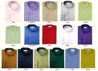 Mens' mandarin collar ( banded collar) dress shirt by Fortino Landi/TDC  SG01