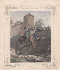 Cavaliere cavallo fuga bulino A.H.Payne  acquarellato fine 800