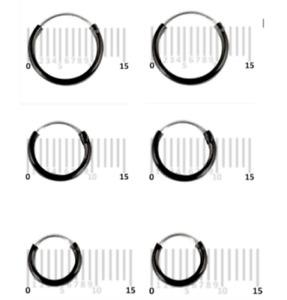 SMALL BLACK HOOP EARRINGS COATED 925 STERLING SILVER SLEEPERS PAIR of 6, 8, 10mm