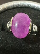 gorgeous lady high setting amethyst silver electroplated ring size 8 us