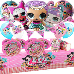 LOL Mermaid Diva Doll Table Cover Plates Cups Napkins Buntings Birthday Balloons