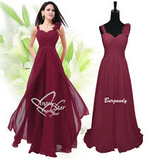 Formal Chiffon Long Evening Ball Gown Party Prom Wedding Bridesmaid Dress UK Burgundy 10 - 12