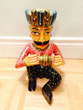 """9"""" - Hand Carved Wooden Decorative Multi-Colored Musician Playing Cymbal"""