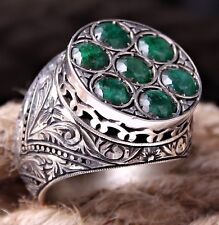NATURAL Emerald Stone Turkish 925 Sterling Silver Mens Ring Sz 12  FREE RESİZE