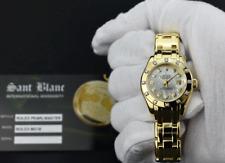 ROLEX Ladies 29mm 18kt Gold PEARLMASTER MASTERPIECE MOP Diamond 80318 SANT BLANC