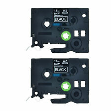 2PK TZ-335 TZe-335 White on Black Label Tape For Brother P-Touch PT-2710 12mm