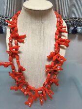NWOT Long Faux Orange Coral Statement Necklace