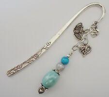 Bookmark w Silver Butterfly Heart n fancy Beads ~*~ Handmade