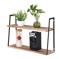 Industrial Wall Shelves Wall Mounted 2 Tier Wood Storage Shelf Carbonized Black