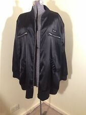EMME/MY SIZE BLACK SATIN LOOK ROCK AND ROLL L/SLEEVE ZIP UP JACKET  SZ M