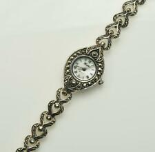 Woodford Ladies 1700 Sterling Silver and Marcasite Set Hearts Bracelet Watch
