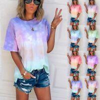 Summer Women Tie-Dye Short Sleeve Crew-Neck T-Shirt Casual Blouse Tee Tops