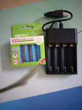 4pcs KENTLI 1.5v 3000mWh rechargeable Lithium AA PH5 battery 1 usb charger