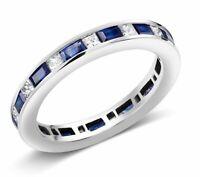 2ct Baguette Cut Blue Sapphire Wedding Band Ring Eternity 14k White Gold Finish