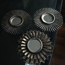 SET OF 3 Copper MOROCCAN ART DECO Round Mirrors Sunburst Moroccan Wall Mirrors