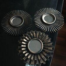 SET OF 3 Copper MOROCCAN ART DECO Round Mirrors Sunburst Moroccan Wall Mirrors