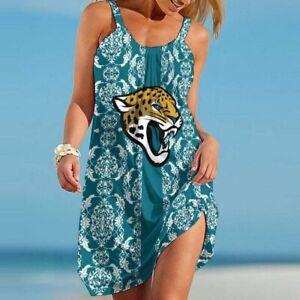 Jacksonville Jaguars Women Spaghetti Strap Dresses Backless Loose Swing Sundress