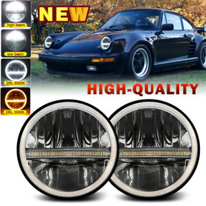 """7"""" in Round LED Headlights  DRL High Low For Porsche 911 912 914 924 928 944"""