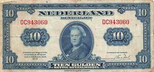 Netherlands 10 Gulden 1943 P-66