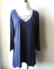 NY Collection New Asymmetrical Lace Up Top Navy Silver Trim Size L