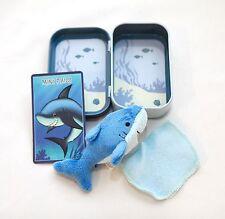 """4"""" Mini Stuffed Plush Shark Kid's Toy in Collectible Tin w/ Trading Card"""