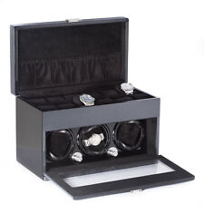 "Steel Gray 3 Watch Winder Bey Berk Lacquered ""Carbon Fiber"""