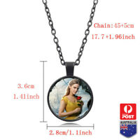 New BEAUTY AND THE BEAST CABOCHON GLASS PENDANT Photo NECKLACE CHAIN JEWELRY