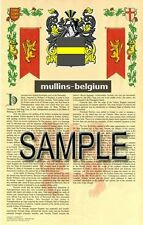 MULLINS Armorial Name History - Coat of Arms - Family Crest GIFT! 11x17