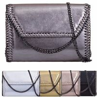 Ladies Metallic Chain Edge Clutch Bag Envelope Evening Bag Party Handbag KL907