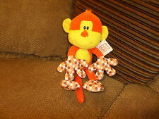 "NWT 15"" Fiesta Plush MITTENS Orange & Yellow MONKEY Polkadots (5b)"