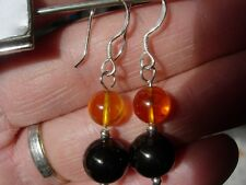 shungite and amber earrings 8 & 10 mm sterling silver