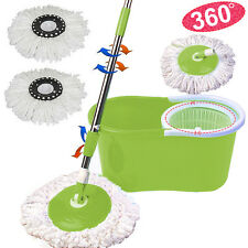 360°Easy Floor Mop Microfiber Green Magic Spin Mop W/Bucket 2 Heads Rotating