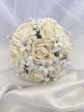 Flowergirl Ivory Foam Rose Wedding Bridal Bouquet With Baby Breath & stephanotis