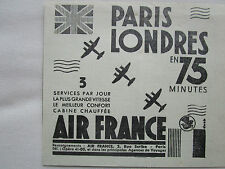 12/1938 PUB COMPAGNIE AIR FRANCE AIRLINE PARIS LONDRES AVION AVIATION AD