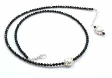 """Natural Black Spinel & Pearl Necklace 925 Sterling Silver 3 mm 18"""" Beads Jewelry"""