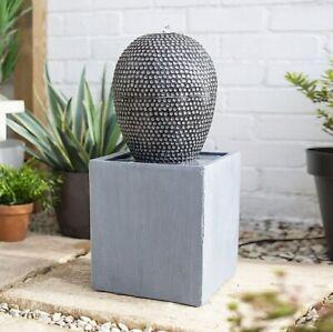 Dapple Cascade Water Feature, LED Light - New Grey Concrete Garden Fountain Ball