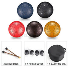 More details for steel tongue drum 12 inch 13 notes percussion instrument with drum mallets bag