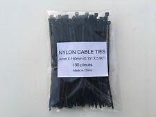 "100 Pcs High Quality 6"" 40 Pound Black Cable Zip Tie Down Strap Wire Nylon Wrap"