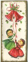 VINTAGE CHRISTMAS PRETTY GIRLS RINGING BELLS RED GREEN EMBOSSED GREETING CARD