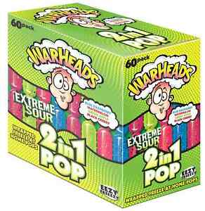 60 x Warheads Sour 2in1 Wrapped Freeze Ice Pops Pop Poles Freeze Assorted 75ml