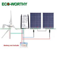 600W 24V Home Turbine Kit 400W Wind Generator 3 Blade 2pc 100W Solar Panel